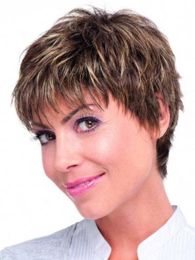 Monofilament Brown Straight Style Short Wigs