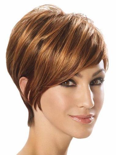 Auburn Layered Straight Sassy Short Wigs