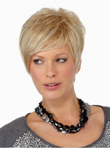 Convenient Blonde Synthetic Straight Short Wigs