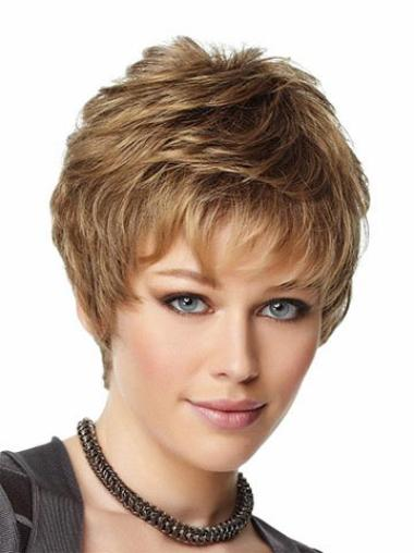 Easeful Brown Synthetic Wavy Short Wigs