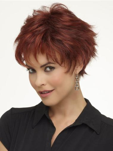 Monofilament Red Wavy Style Short Wigs