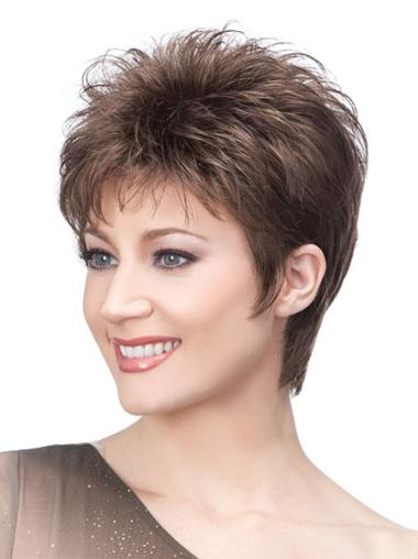 Trendy Brown Synthetic Straight Short Wigs