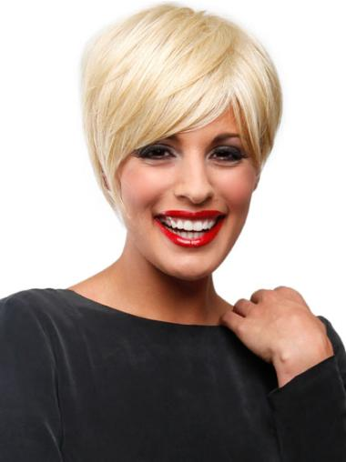Beautiful Blonde Straight Short Lace Front Wigs