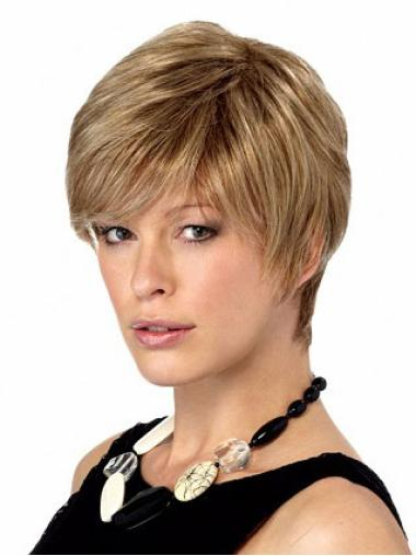 Polite Blonde Synthetic Straight Short Wigs