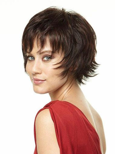 Mature Brown Synthetic Straight Short Wigs