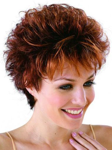Monofilament Auburn Wavy Durable Petite Wigs