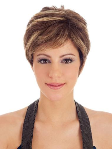 Beautiful Brown Synthetic Straight Short Wigs