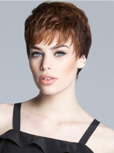Monofilament Brown Straight Easy Short Wigs
