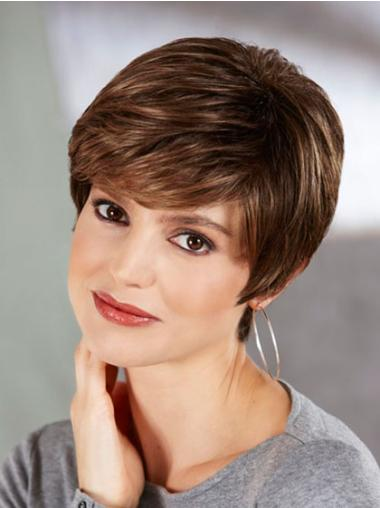 Traditiona Brown Synthetic Straight Short Wigs