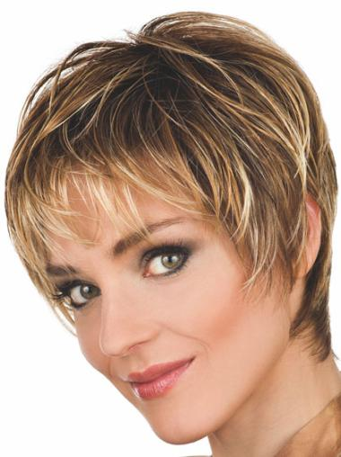Popular Brown Synthetic Wavy Short Wigs