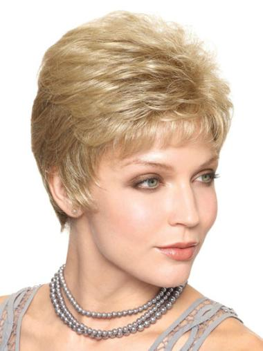 Easeful Blonde Straight Cropped Classic Wigs