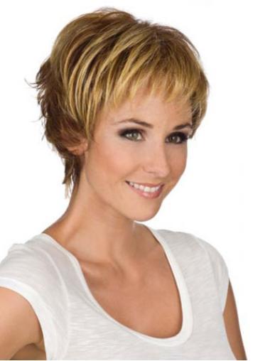 Monofilament Blonde Wavy Easy Short Wigs