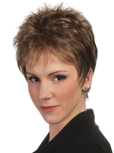 Top Brown Synthetic Straight Short Wigs