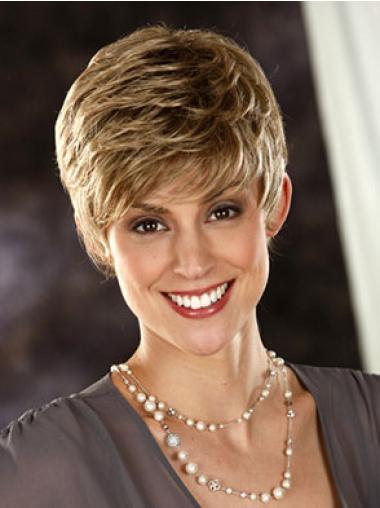 Suitable Blonde Synthetic Wavy Short Wigs