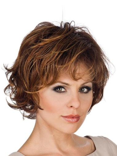 Lace Front Brown Wavy Easeful Short Wigs