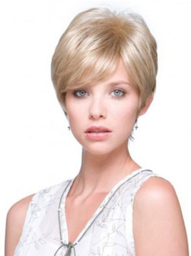 Monofilament Blonde Straight Good Short Wigs