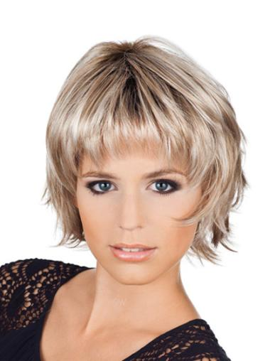 Tempting Blonde Synthetic Wavy Short Wigs