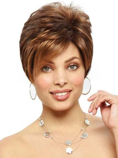 Monofilament Brown Straight Preferential Short Wigs