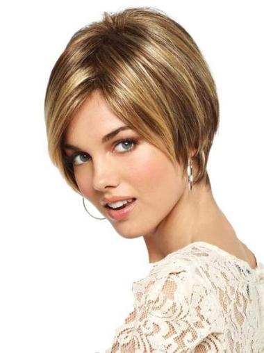 Monofilament Blonde Straight Comfortable Short Wigs