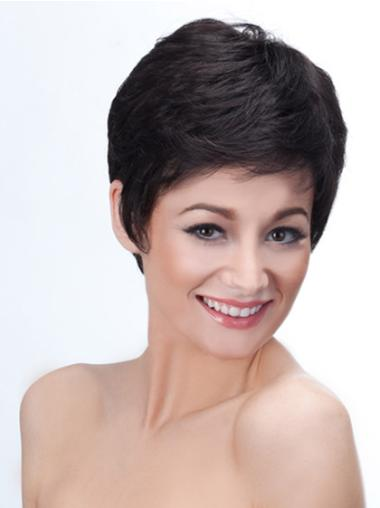 Refined Black Synthetic Straight Short Wigs