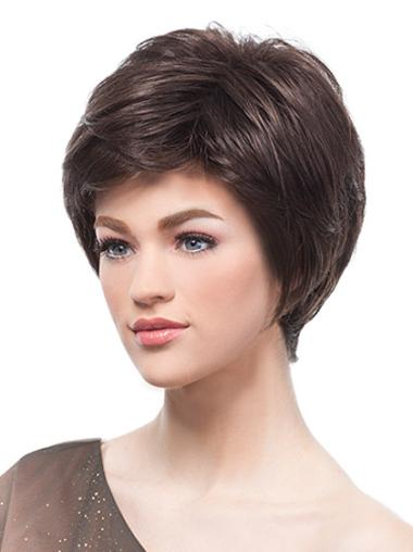 Monofilament Brown Straight Designed Short Wigs