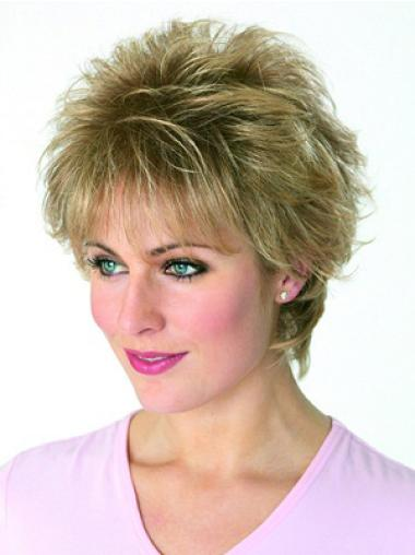 Modern Blonde Synthetic Wavy Short Wigs