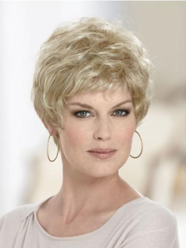 Comfortable Blonde Synthetic Wavy Short Wigs
