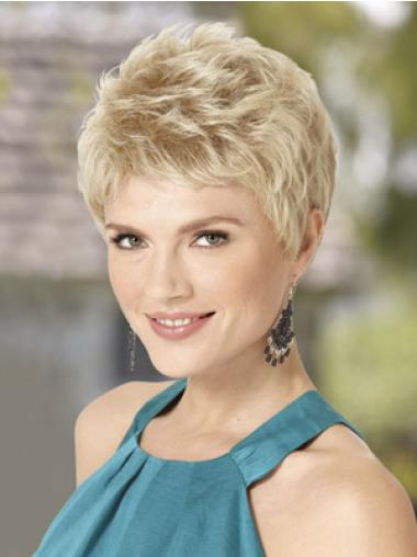 Traditiona Blonde Synthetic Wavy Short Wigs