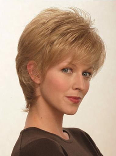 Shining Blonde Synthetic Straight Short Wigs