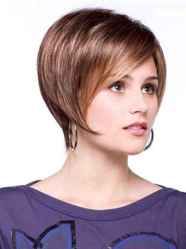 Lace Front Brown Straight Easy Short Wigs