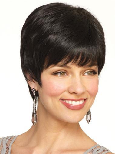 Faddish Black Straight Short Wigs