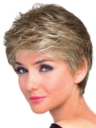 Fashionable Brown Synthetic Wavy Short Wigs