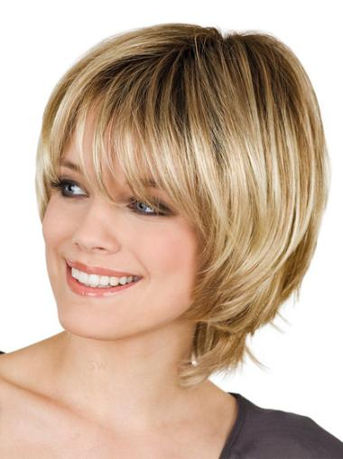 Pleasing Synthetic Blonde Straight Short Wigs