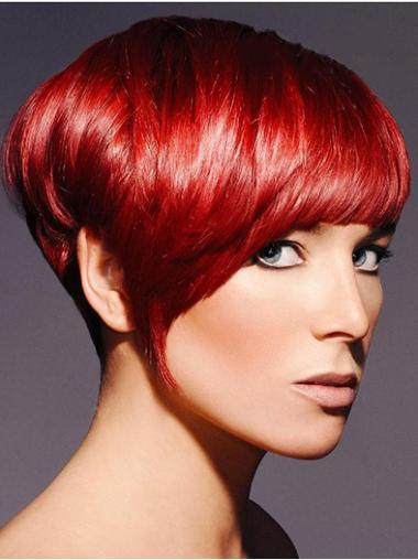 No-fuss Red Synthetic Straight Short Wigs