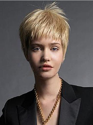 Style Blonde Straight Short Wigs