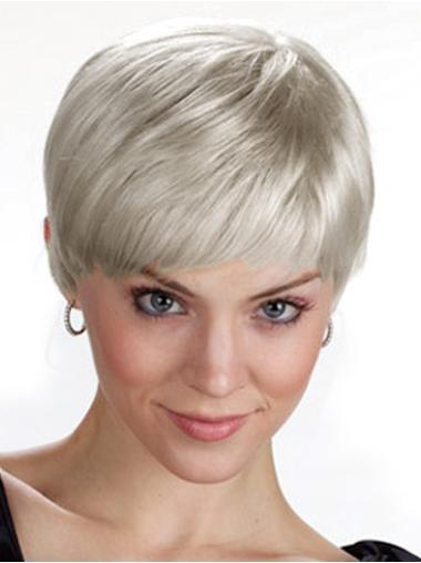 Comfortable White Straight Cropped Grey Wigs