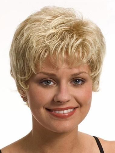 Unique Blonde Synthetic Wavy Short Wigs