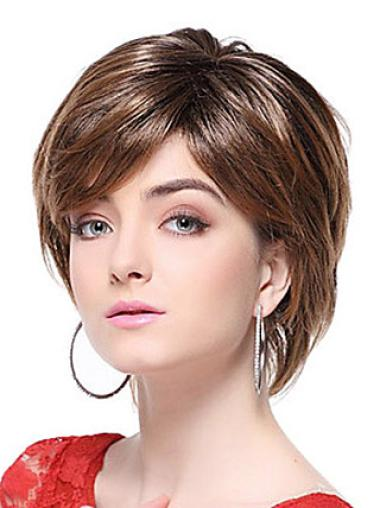 Fashion Brown Synthetic Straight Short Wigs