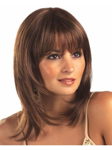 Lace Front Brown Straight Radiant Medium Wigs