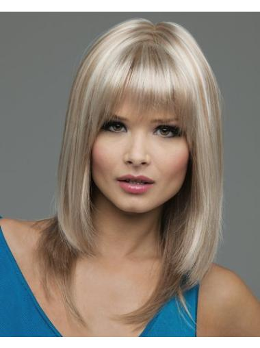 Good Blonde Straight Shoulder Length Lace Front Wigs