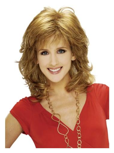 Suitable Blonde Wavy Shoulder Length Classic Wigs