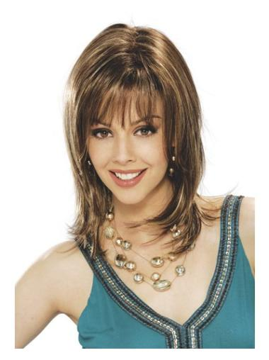 Brown Straight Synthetic Modern Medium Wigs