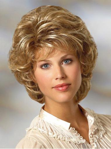 Stylish Blonde Curly Chin Length Classic Wigs