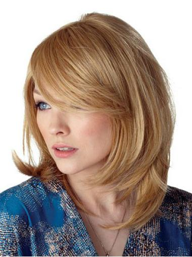 Blonde Straight Synthetic Modern Medium Wigs