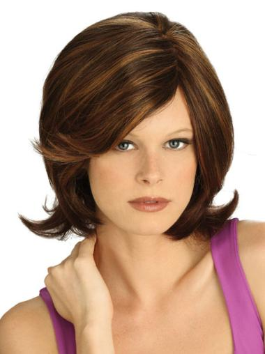 Lace Front Brown Straight Refined Medium Wigs