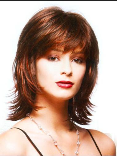 Auburn Straight Synthetic Designed Medium Wigs