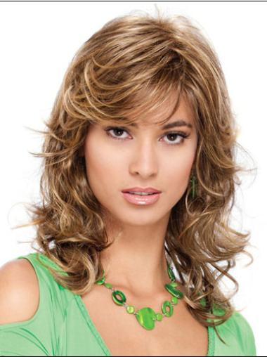 Blonde Curly Synthetic Pleasing Medium Wigs