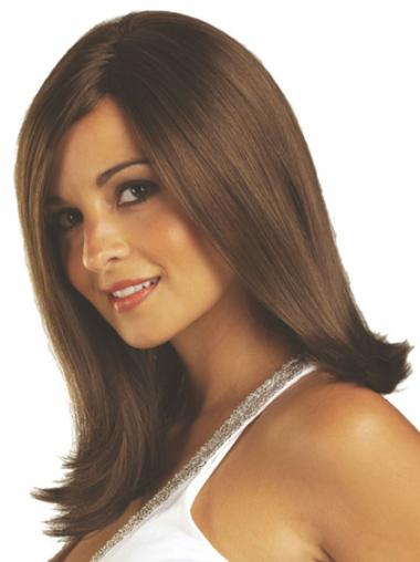 Brown Straight Synthetic Discount Medium Wigs