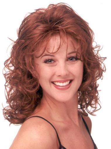 Modern Red Curly Shoulder Length Classic Wigs