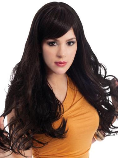 Online Lace Front Wavy Black Long Wigs